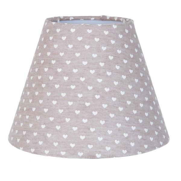 Lampenschirm Leuchtenschirm Herzen Landhaus Clayre & Eef Braun E27 6LAK0343 13x17 cm