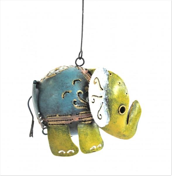 Teelicht Hänger Halter Elefant Metall Bunt Orientalisch Handarbeit Varios