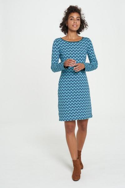 Kleid Knielang Flower Print Jersey Bio Baumwolle Stretch Hippie Tranquillo XS S 34 36