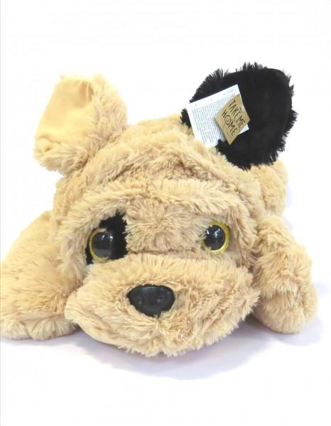 Stofftier Hund Bulldogge Kuscheltier XL Beige Weiß Schwarz Take me Home 80 cm
