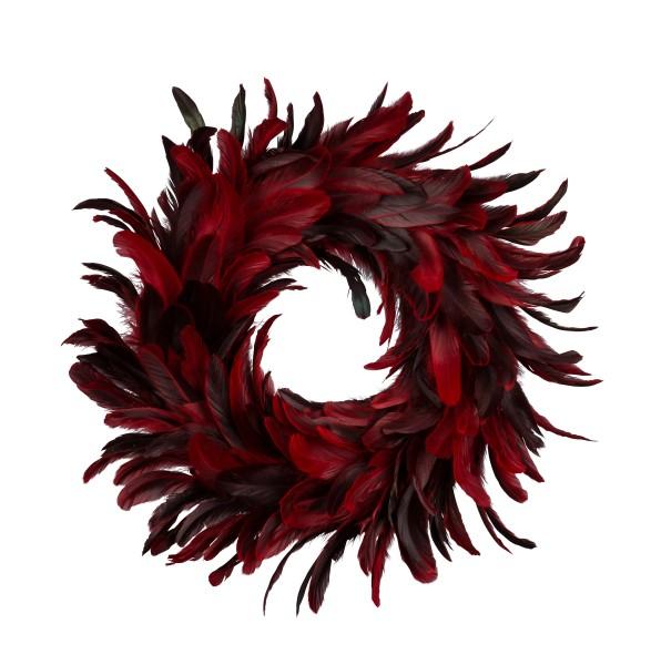 Federkranz Rot Bordeaux Dunkel Deko Tisch Hänger Rund 20 cm
