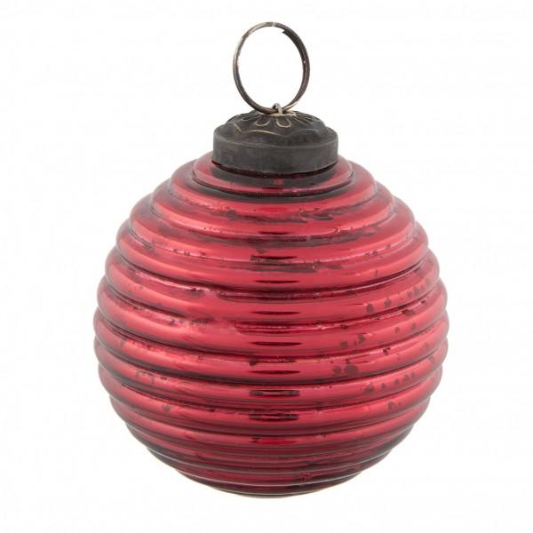 Weihnachtsbaumkugel Christbaumkugel Weihnachten Clayre & Eef Glas rot 8 cm 6GL2236R