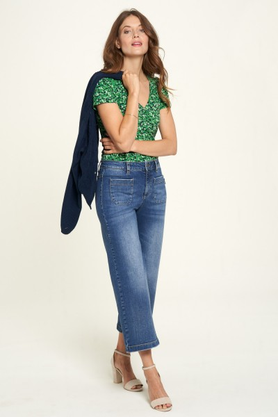 Damen Jeans Flared Leg 3/4 Länge Blau Elasthan Größe 42 Denim Summer Indigo