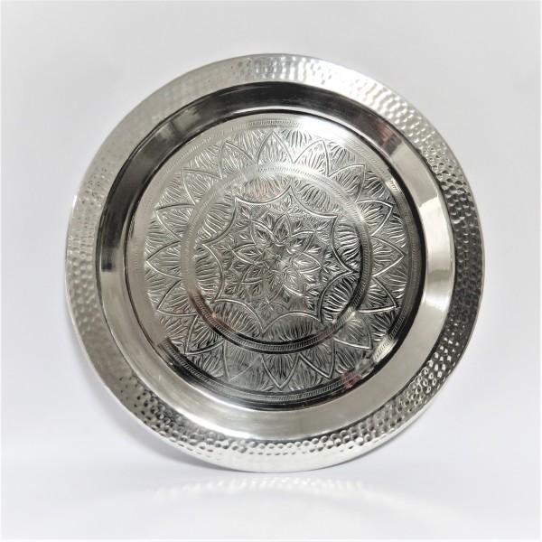 Schale Dekoschale Tablett rund Aluminium 49 x 49 x 2 cm