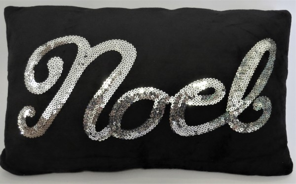Kissen Deko Sofa Samt Schwarz Silber Black cushion Noël 30*50cm Peri Design