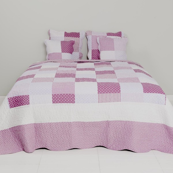 Tagesdecke Bettüberwurf Doppelbett 230 x 260 cm lila Patchwork Clayre & Eef Q004.062