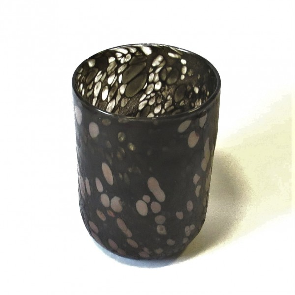 Vase Glas Braun Punkte Deko Tisch Colmore 22,5 cm