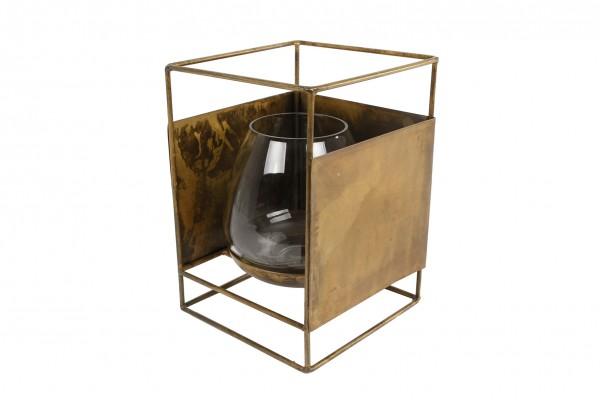 Windlicht Teelichthalter Gold Retro Vintage Metall Deko Garten 14x14x21 cm