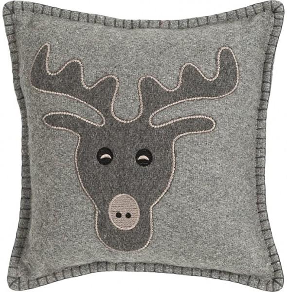 Kissen Dekokissen Weihnachten Rentier 30 x 30 cm Wolle grau Linen & More