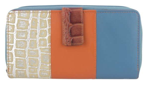 Geldbörse Portemonnaie Brieftasche Geldbeutel Orange Blau Leder Design Rina Sunsa