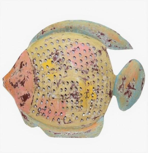 Metall Fisch Deko Teelichthalter Kerzenständer XL Gelb Retro Maritim Handarbeit bell arte