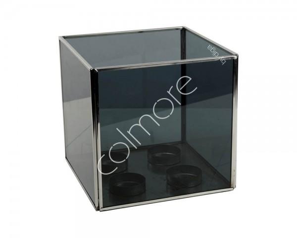 Teelichthalter Windlicht Glas Schwarz Edelstahl Designer Modern Quadrat Tisch Colmore 4