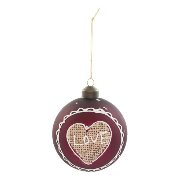 Weihnachtsbaumkugel Christbaumkugel Weihnachten Clayre & Eef 8 cm rot Glas 6GL2065 4er Set