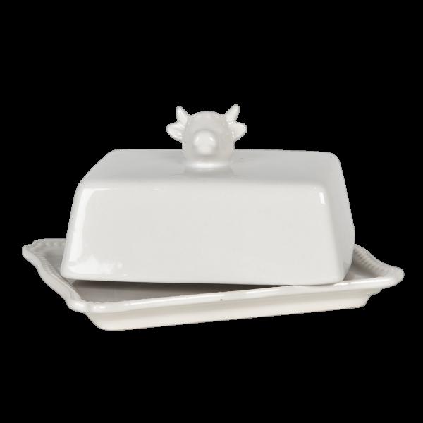 Butterdose Keramik Weiß Kuh Design Landhaus Clayre & Eef