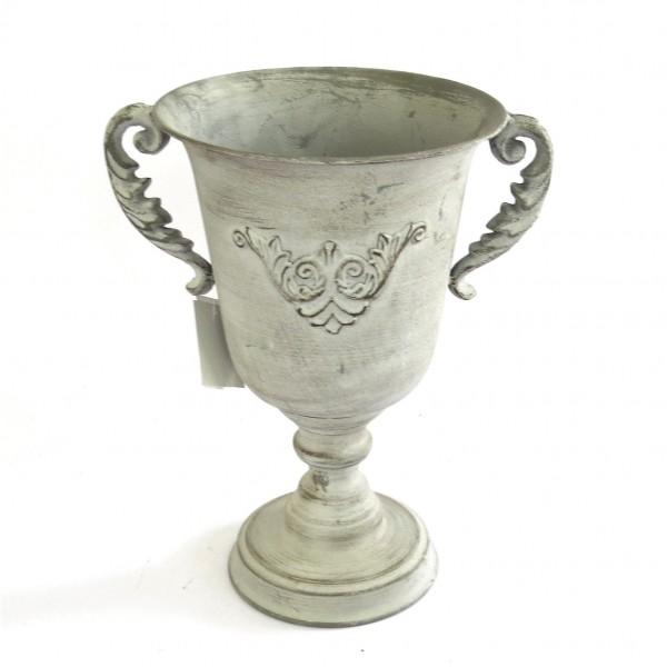 Übertopf Topf Pokal Blumen Pflanzen Antik Shabby Metall 30 cm