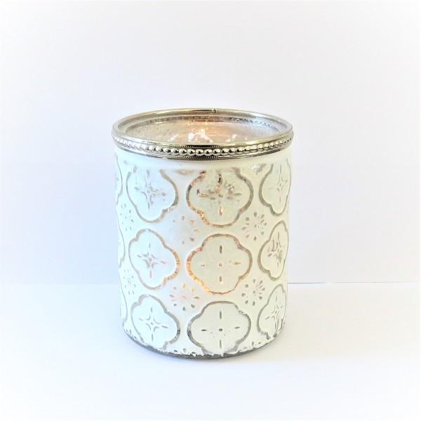 Windlicht Teelicht Glas Weiß Silber Ornament Shabby Antik 12 cm