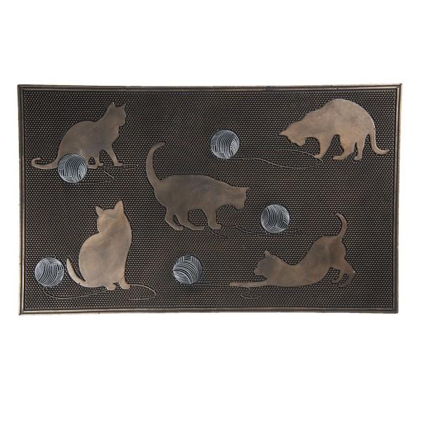 Fußmatte Matte Tür Eingang Fuß Abstreifer Läufer Katze Cats Modern Clayre&Eef Braun Bronze