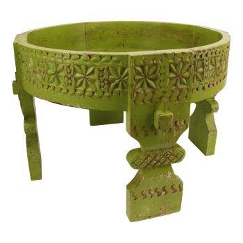Beistelltisch Sofa Tisch Rund Holz Antik Grün Massiv Orientalisch Imbarro 50x50x35,5 cm