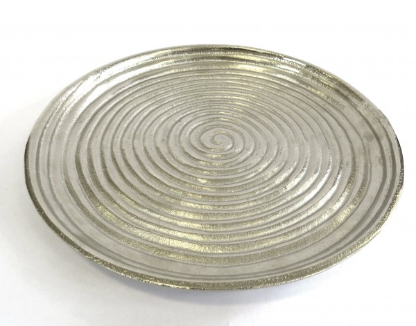 Schale Tablett Servierteller Silber Modern Schneckenmuster Colmore 31 cm