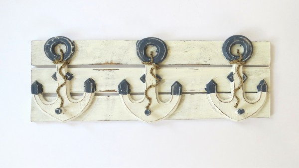 Wandgarderobe Wandhaken Maritim Anker Holz Weiß Blau 55 x 19 cm