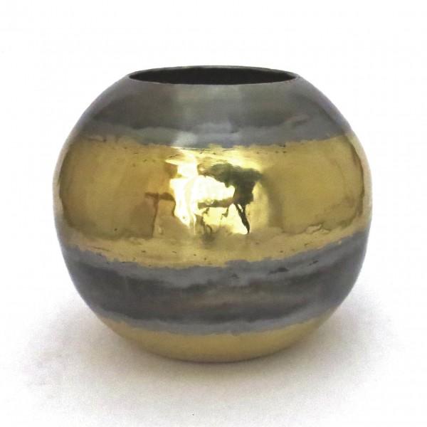 Vase Metall Rund Tisch Deko Gold Silber Messing 23 cm