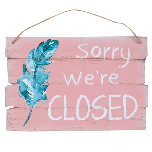 Clayre & Eef Dekoschild Holzschild Textschild Schild aus Holz sorry we`re Closed 6H1322 30*20*0,9
