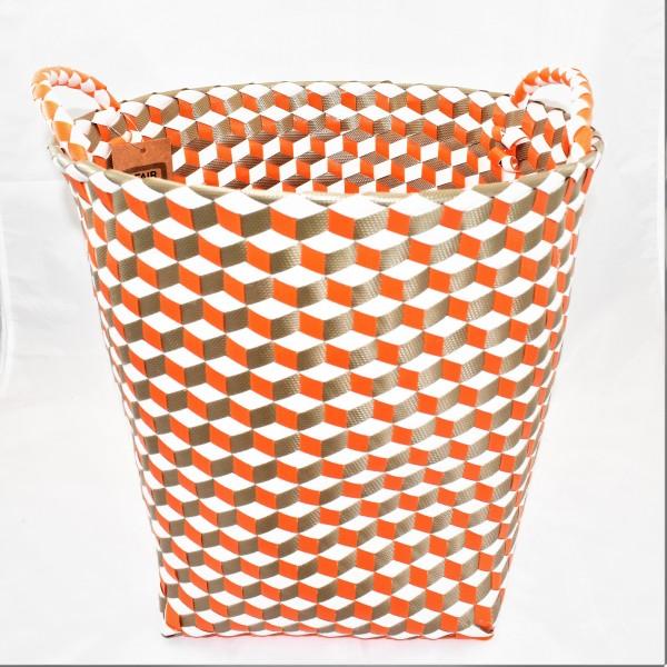 Korb Wäschekorb Dekokorb Kunststoffgeflecht weiß gold orange 36 x 36 cm