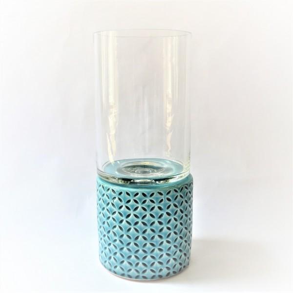 Windlichthalter Teelicht Kerzenständer Vase Glas Keramik 29,5 x 12 cm