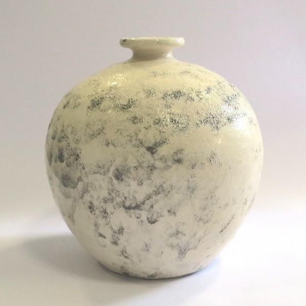 Deko Vase Bauchig Rund Shabby Stil Creme Handarbeit 25x25 cm