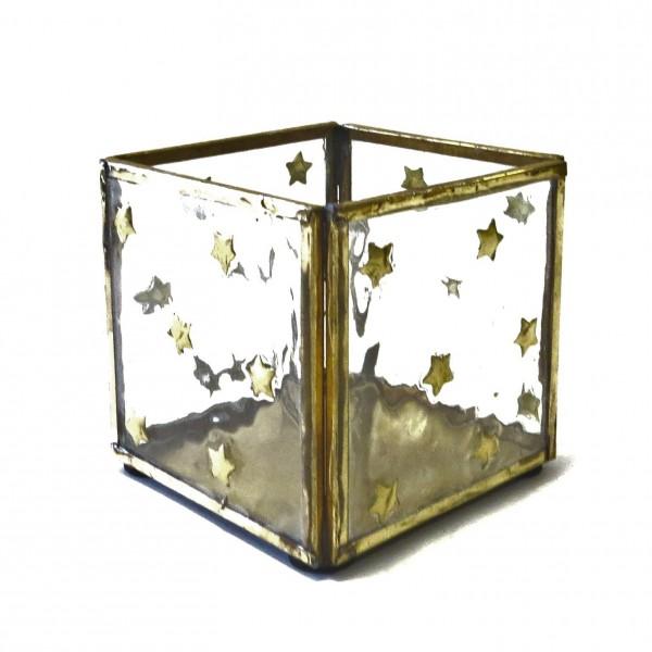 Teelicht Windlicht Gold Sterne Glas Metall Gold Colmore Industrial Stil Shabby Antik
