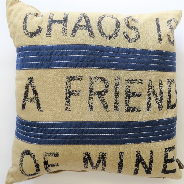 Kissen Deko Zier Sofa Chaos is a Friend of Mine Braun und Blau Linen & More