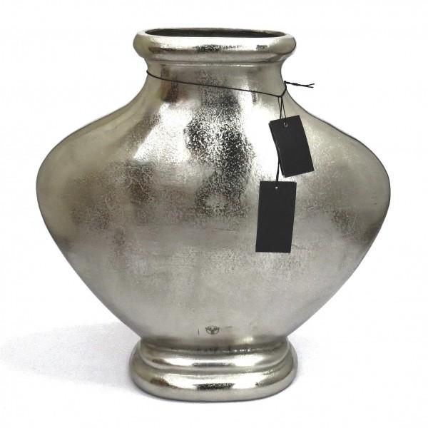 Bodenvase Deko Vase XL Silber Antik Stil Schmal Metall Colmore Pinelake Lodge 50 cm