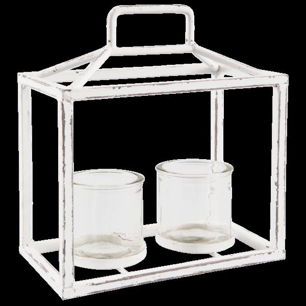 Windlichthalter Teelicht Deko Hänger Shabby Antik Weiß Metall Glas Clayre & Eef