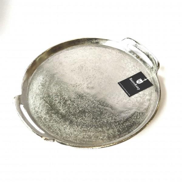 Tablett Platte Teller Kerzen Deko Silber Rund Modern Hazenkamp 32 cm
