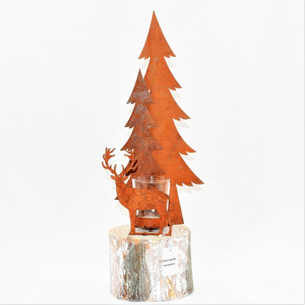 Teelichthalter Hirsch mit Holz Metall Höhe 42 cm