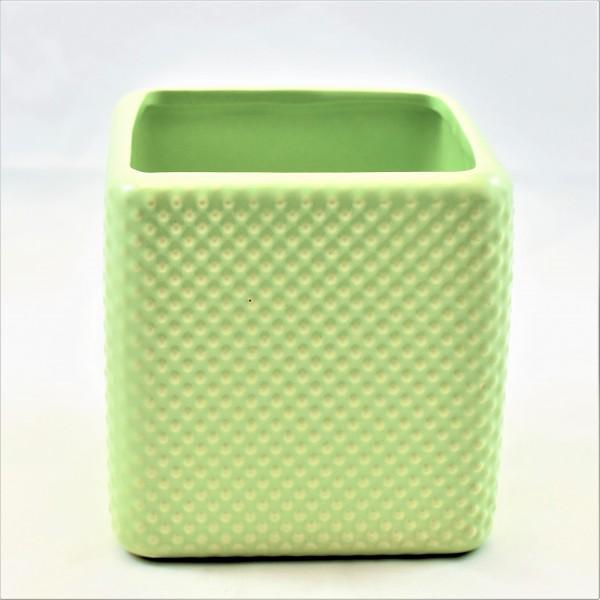 Übertopf Topf eckig Porzellan Punkte Dots Design 11 x 11 cm Pusteblume mint