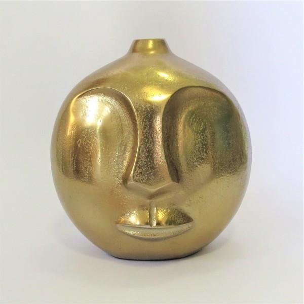 Vase Tisch Deko Rund Modern Gesicht Colmore Gold Bronze 20 cm