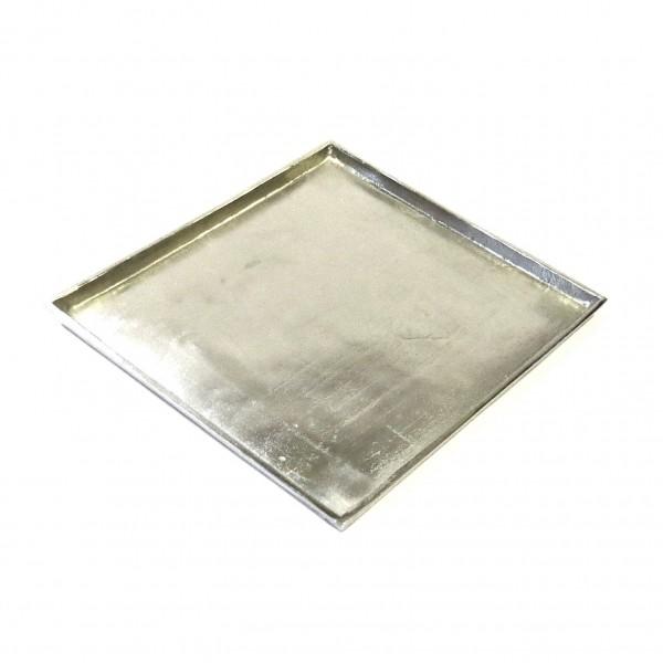 Tablett Untersetzer Teller Kerzentablett Silber Metall Modern Colmore Quadrat 30 cm