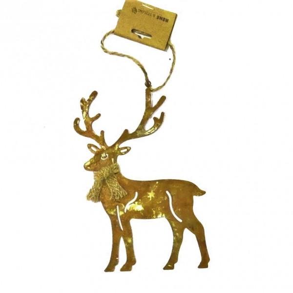 Hirsch Rentier Hänger Metall Rost Weihnachten Baumschmuck Deko Fenster Metall 17 cm