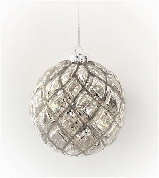 Weihnachtskugel Christbaumschmuck Weihnachten silber 10 cm Glas Colmore