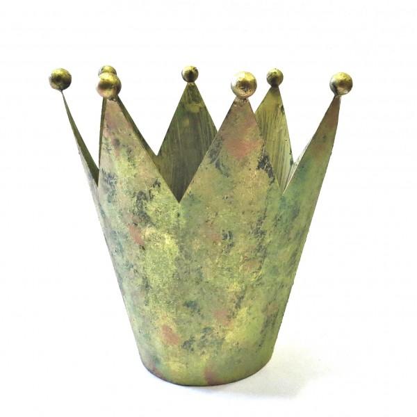 Krone Deko Metall Tisch Gold Grün Antik Shabby bell arte Weihnachten Herbst 26 cm XL