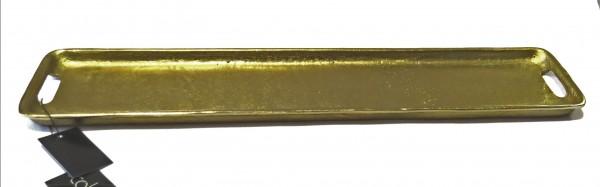 Tablett Teller Schale Platte Kerzen Gold Bronze XL Länglich Metall Tisch Deko Colmore