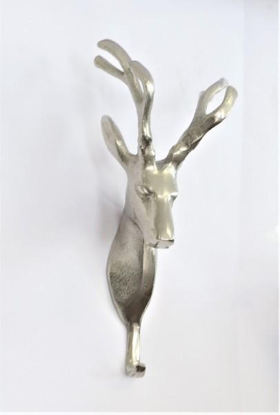 Wandhaken Garderobe Türhaken Hirsch Metall Silber Modern Colmore 26 cm