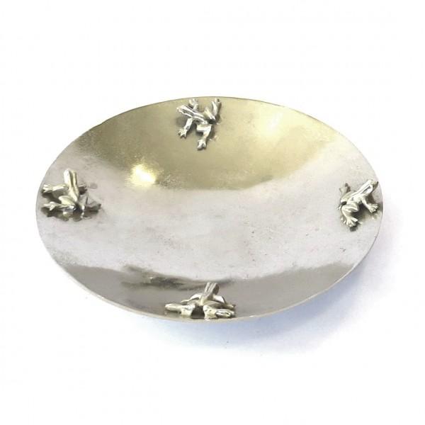 Schale Frosch Motiv Silber Modern Metall Rund Tisch Deko Colmore 41 cm