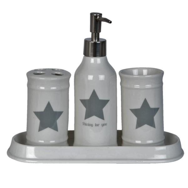 Bad Set Clayre & Eef Creme Weiß Sterne Keramik 4er Set