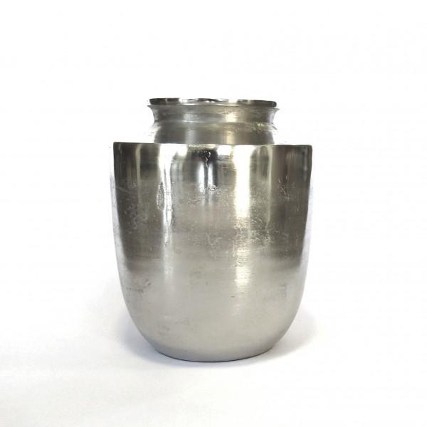 Vase Bodenvase Deko Modern Industrie Stil Silber Metall Colmore 30 cm Matki