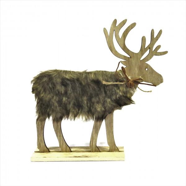 Hirsch Elch Standfigur Weihnachten Deko Holz Fell Glocke Braun Natur 30 cm