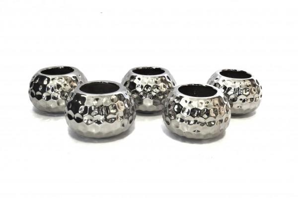 Teelicht Teelichthalter 5er Set Silber Modern Gehämmerte Optik 5,5 x 8 cm