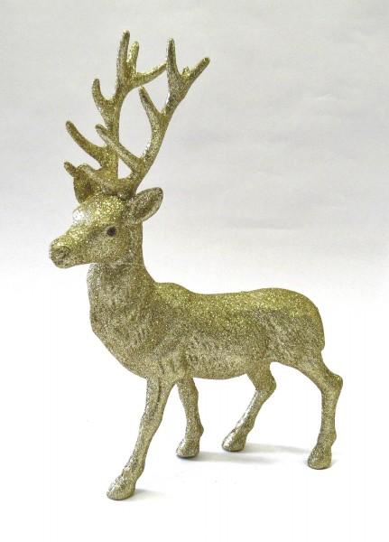 Glitzer Hirsch Weihnachten Deko Tisch Gold Cor Mulder 40 cm Glitter Rentier