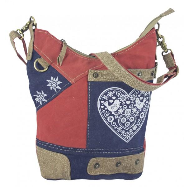 Tasche Damen Hippie Boho Schultertasche Beuteltasche Canvas Jeans Rot Blau